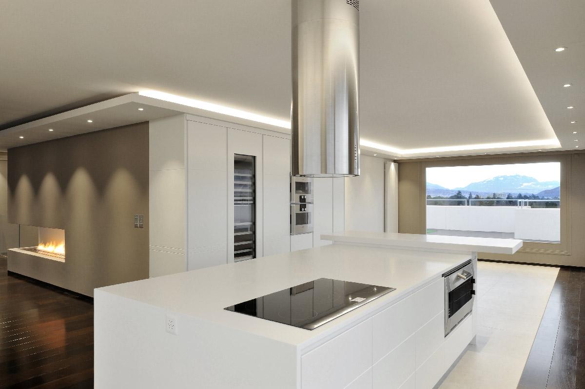 Ilot Central Avec Plaque De Cuisson aménagement de cuisine et de salle de bains - solid surface